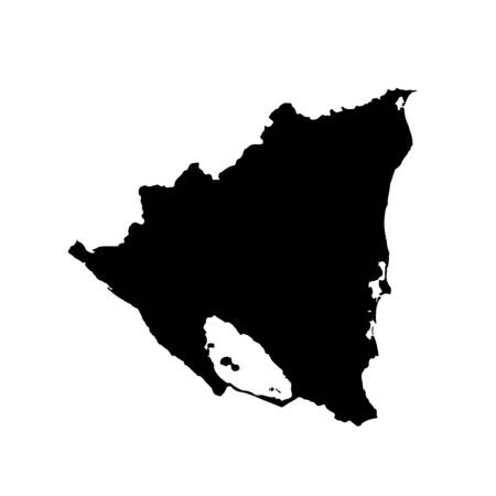 Vector map Nicaragua. Isolated vector Illustration. Black on White background. Banco de Imagens