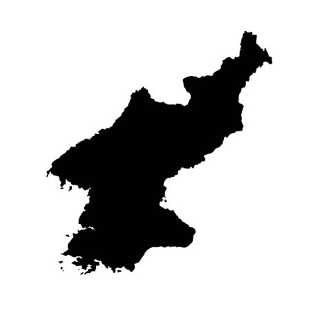 Vector map North Korea. Isolated vector Illustration. Black on White background.
