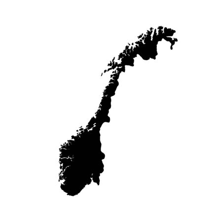 Vector map Norway. Isolated vector Illustration. Black on White background.