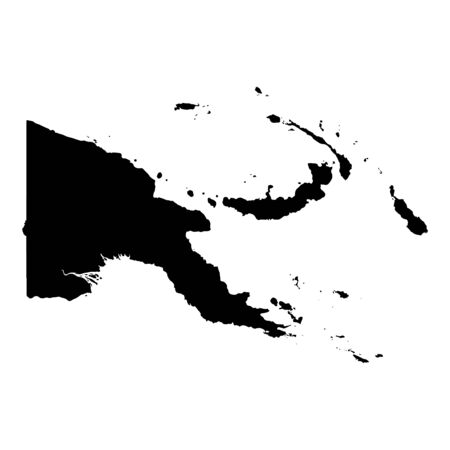 Vector map Papua New Guinea. Isolated vector Illustration. Black on White background. Фото со стока - 129628205
