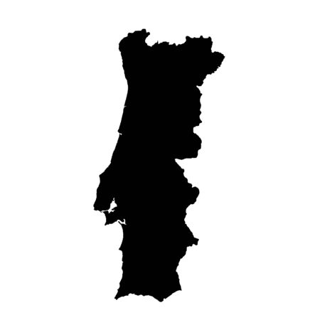 Vector map Portugal. Isolated vector Illustration. Black on White background. Фото со стока