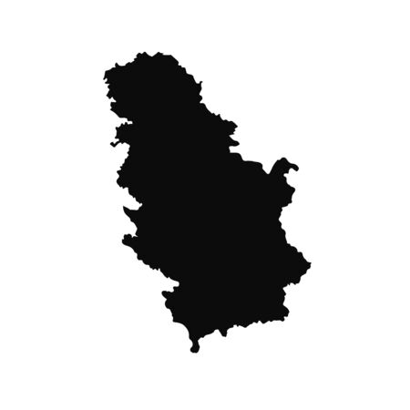 Vector map Serbia. Isolated vector Illustration. Black on White background.