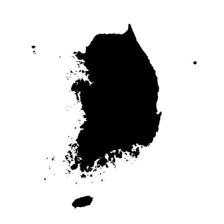 Vector map South Korea. Isolated vector Illustration. Black on White background. Фото со стока - 129628286