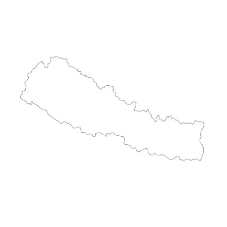 Vector map Nepal. Isolated vector Illustration. Black on White background. Фото со стока