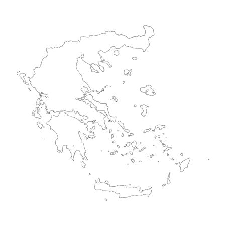 Vector map Greece. Isolated vector Illustration. Black on White background. Stockfoto