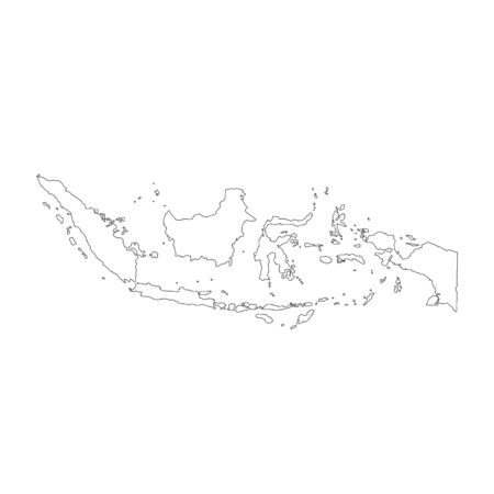 Vector map Indonesia. Isolated vector Illustration. Black on White background.