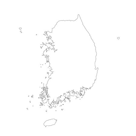 Vector map South Korea. Isolated vector Illustration. Black on White background. Фото со стока - 129628661