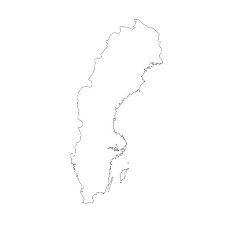 Vector map Sweden. Isolated vector Illustration. Black on White background. 스톡 콘텐츠 - 129628809