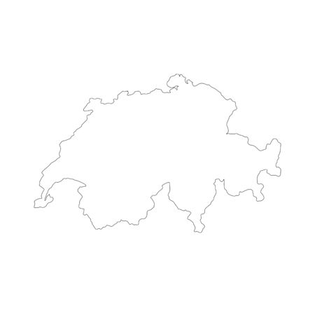 Vector map Switzerland. Isolated vector Illustration. Black on White background.