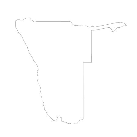 Vector map Namibia. Isolated vector Illustration. Black on White background.