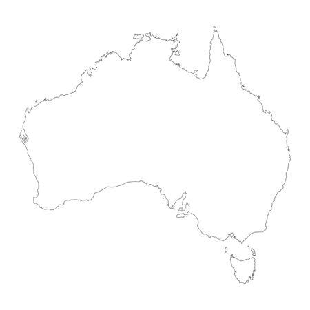 Vector map Australia. Isolated vector Illustration. Black on White background. Stock fotó - 129628903