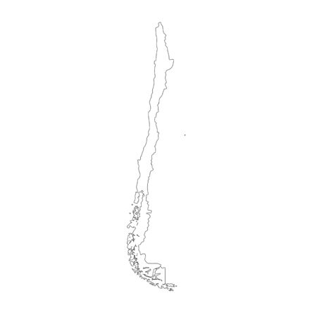 Vector map Chile. Isolated vector Illustration. Black on White background.