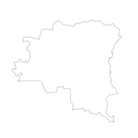 Vector map Democratic Republic of the Congo. Isolated vector Illustration. Black on White background. Stock Photo