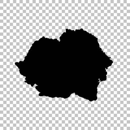 Vector map Romania. Isolated vector Illustration. Black on White background.