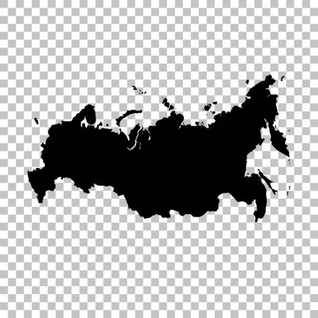 Vector map Russia. Isolated vector Illustration. Black on White background.