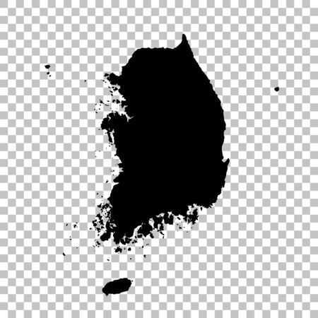 Vector map South Korea. Isolated vector Illustration. Black on White background. Фото со стока - 129629190