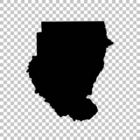 Vector map Sudan. Isolated vector Illustration. Black on White background. Stock fotó