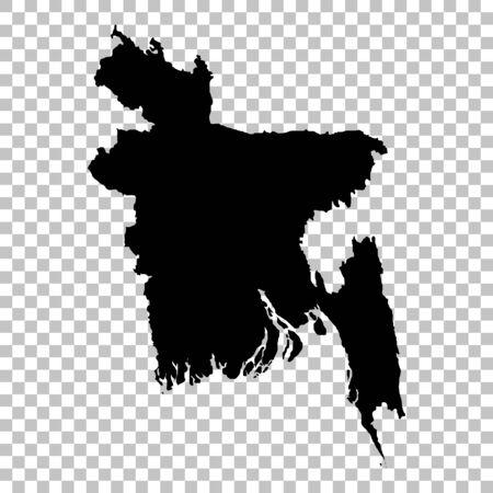 Vector map Bangladesh. Isolated vector Illustration. Black on White background.