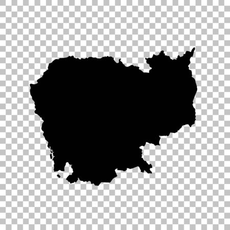 Vector map Cambodia. Isolated vector Illustration. Black on White background.