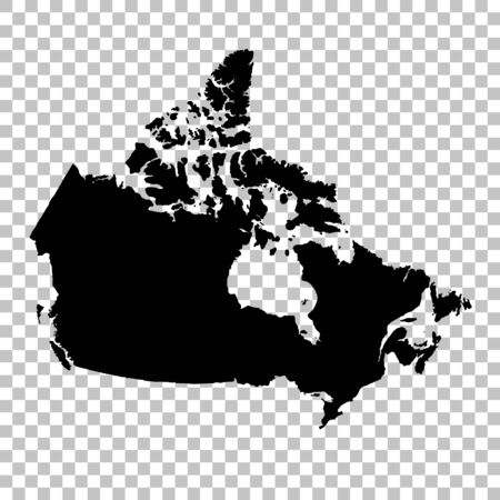 Vector map Canada. Isolated vector Illustration. Black on White background.