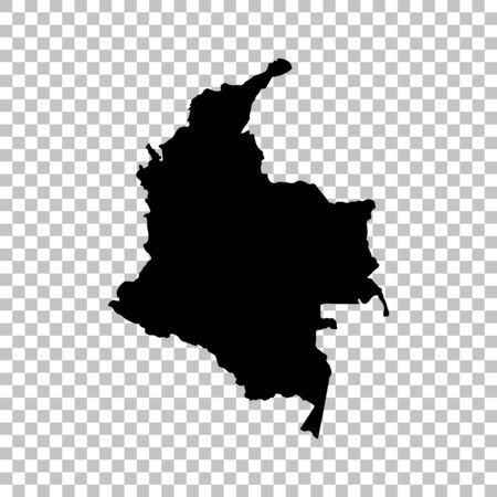 Vector map Colombia. Isolated vector Illustration. Black on White background. 스톡 콘텐츠