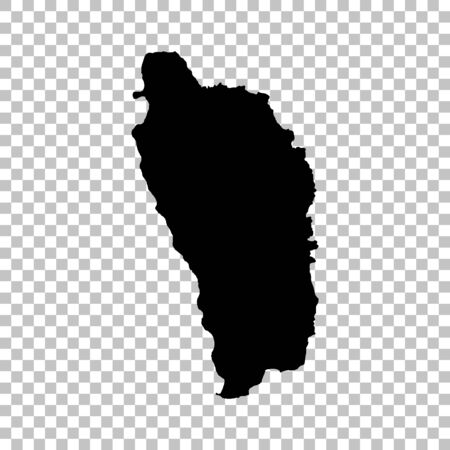 Vector map Dominica. Isolated vector Illustration. Black on White background.