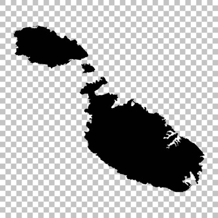 Vector map Malta. Isolated vector Illustration. Black on White background. 스톡 콘텐츠