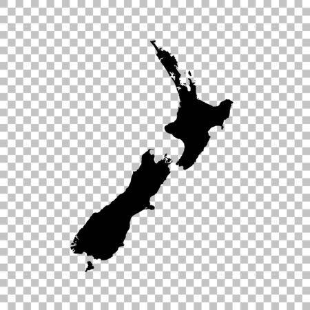 Vector map New Zealand. Isolated vector Illustration. Black on White background.