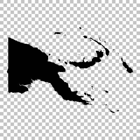 Vector map Papua New Guinea. Isolated vector Illustration. Black on White background. Фото со стока