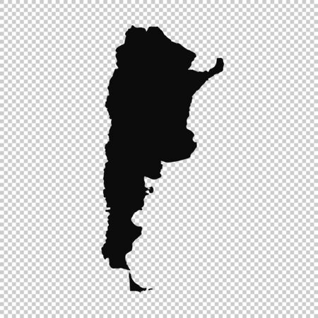 Vector map Argentina. Isolated vector Illustration. Black on White background. Фото со стока