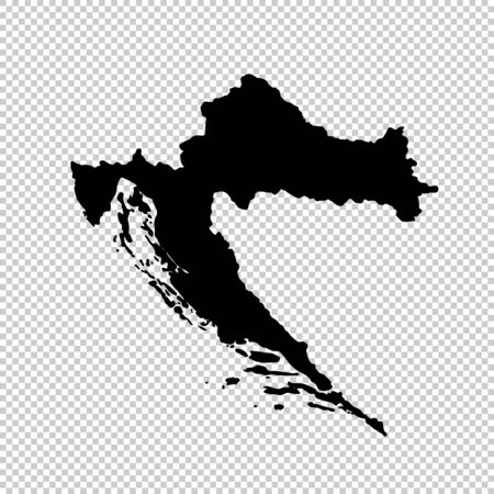 Vector map Croatia. Isolated vector Illustration. Black on White background. Imagens