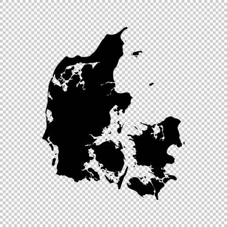 Vector map Denmark. Isolated vector Illustration. Black on White background.