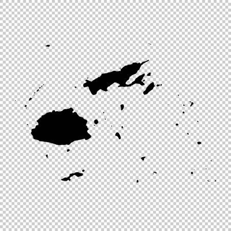 Vector map Fiji. Isolated vector Illustration. Black on White background.