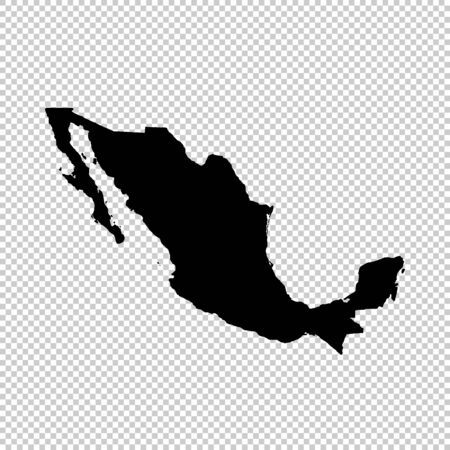 Vector map Mexico. Isolated vector Illustration. Black on White background. Stockfoto