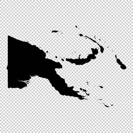 Vector map Papua New Guinea. Isolated vector Illustration. Black on White background. Фото со стока - 129630154
