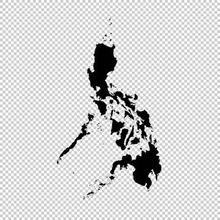 Vector map Philippines. Isolated vector Illustration. Black on White background. Imagens