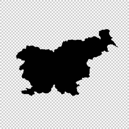 Vector map Slovenia. Isolated vector Illustration. Black on White background.