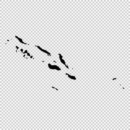 Vector map Solomon islands. Isolated vector Illustration. Black on White background.
