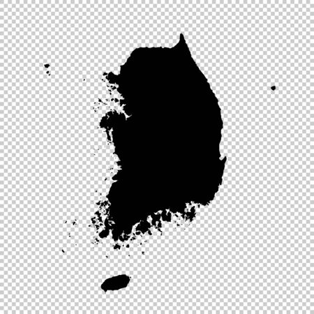 Vector map South Korea. Isolated vector Illustration. Black on White background. Фото со стока