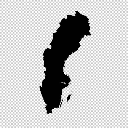 Vector map Sweden. Isolated vector Illustration. Black on White background. 스톡 콘텐츠