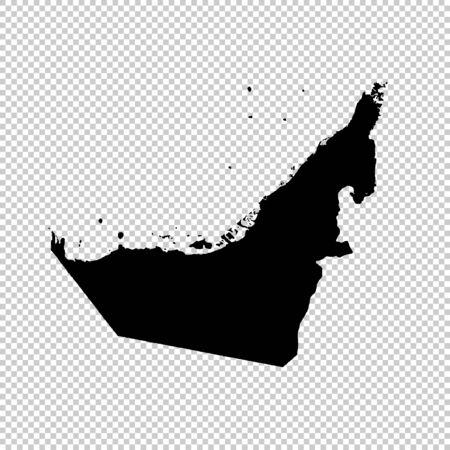 Vector map United Arab Emirates. Isolated vector Illustration. Black on White background. Stock Photo