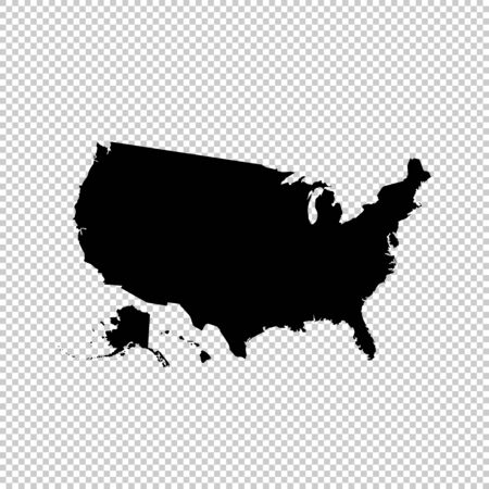 Vector map USA. Isolated vector Illustration. Black on White background. Stockfoto