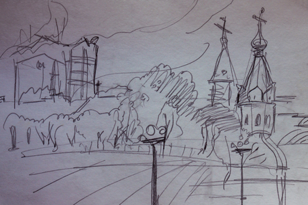 Sketch from the nature of the city view, graphics. Square, trees, in the background a church and modern buildings. Drawing with a pencil on the paper.