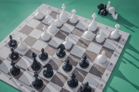 Mid-game, the parties made their moves. On a chessboard a difficult situation, exact calculation, analysis is necessary. Meditation, miscalculation of options.