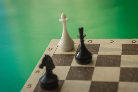 Victory in the chess game. The White King in a Desperate Situation. Dead position, deadlock, end of the game. Green background, daylight. Banque d'images