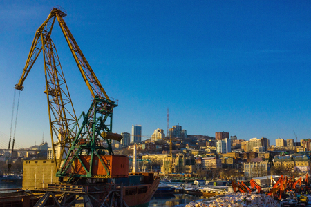 A large crane produces unloading operations in the port. Delivery of cargo by sea transport, transportation services. A panorama of a modern city in the distance. Sunny morning.