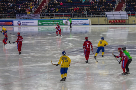 Khabarovsk  Russia - 01.31.2018: Mid-match Sweden - Russia. On the ice players and judges. In the background, stands with spectators. The game moment.
