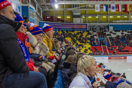Khabarovsk  Russia - 01.31.2018: On the rostrum Russian fans are watching the game. Ice arena, World Bandy Championship. Under the roof flags of competitors. Editorial