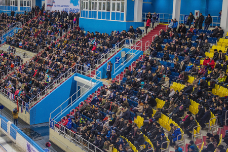 Khabarovsk  Russia - 01.31.2018: The stands are filled with spectators, fans. World Bandy Championship, ice arena. View from above. Editorial