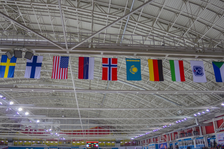 Flags of the participants of the competitions hang under the roof of the ice arena. Sports teams from different countries. Artificial lighting, view from below.